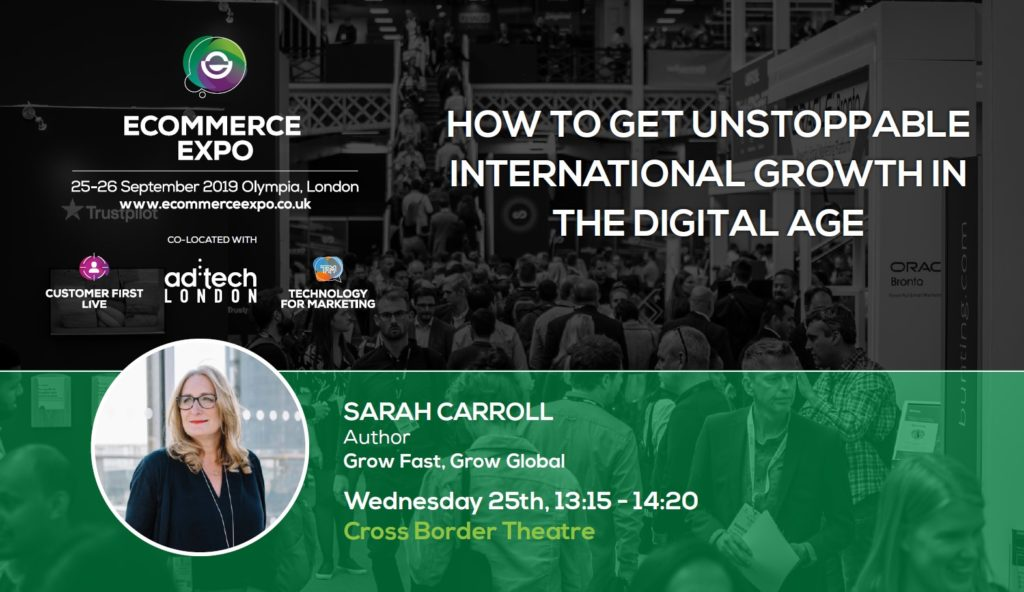 Sarah Carroll speaks at the E-commerce Expo 2019 in London